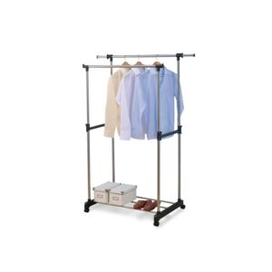 GARMENT RACK DBLBAR BOTTOM SHELF